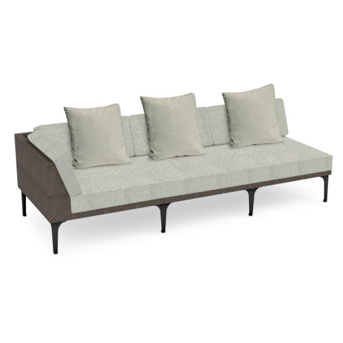 "98"" Outdoor Dark Grey Rattan 3 Seat L-Shaped Right Sofa Sectional, Upholstered in Standard Outdoor Fabric"