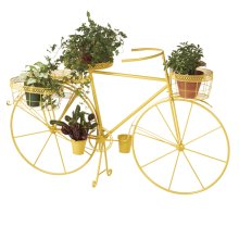 Yellow Bicycle with Planter Baskets