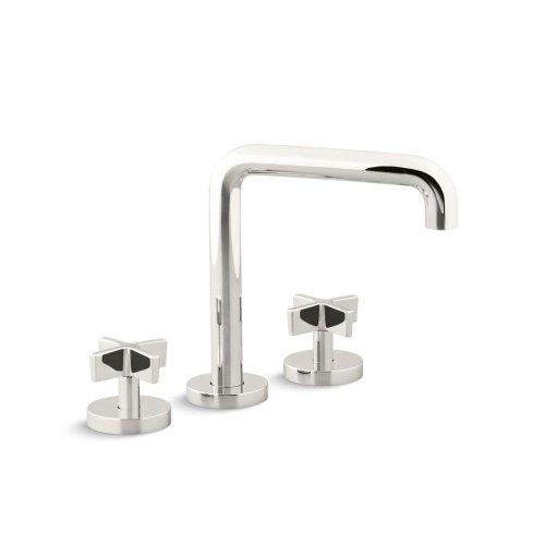 Deck-Mount Bath Faucet, Tall-Spout, Cross Handles - Nickel Silver