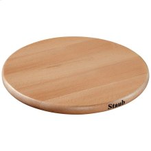 Staub Cast Iron 9-inch-x-9-inch Beechwood Trivet magnetic, Brown