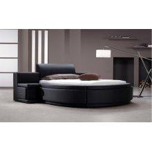 Modrest Owen - Black Leatherette Round Bed with Storage