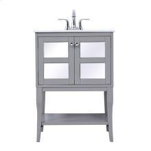 """Radiance and opulence, this 24"""" wide soft grey bathroom vanity crafted in solid poplar wood and 2 inlay mirror panel door with gleaming chrome door knob, standing exquisitely on 4 cabriole legs. Together with an open lower shelf, this vanity provide plenty of storage spaces for your bathroom essential. Rounding out the design is a […]"""