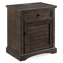 Louvered Door Rustic Night Stand/Side Table Cabinet with Drawer and Top AC/USB Charging #9072