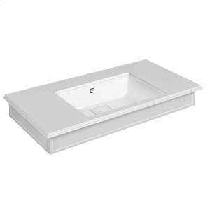 "Wall-mounted or counter-top washbasin in Cristalplant® with overflow waste Matte white 20-9/16"" L x 43-5/16"" W x 5-7/8"" H Overflow cap in finish 031 chrome - see 46763 for more finish options May be drilled on-site for single or 3 hole washbasin mixer CSA Product Image"