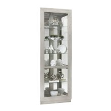 Asymmetrical Two Door Corner Curio Cabinet in Soft Grey