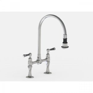 """Brushed Stainless - Deck Mount Pull-Off Spray with 10"""" Swivel Spout with Black Ceramic Lever Product Image"""