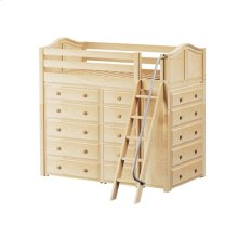High Loft w/ Angle Ladder, 2 x5 Drawer Dressers & Narrow 5 Drawer Dresser : Twin : Natural : Curved