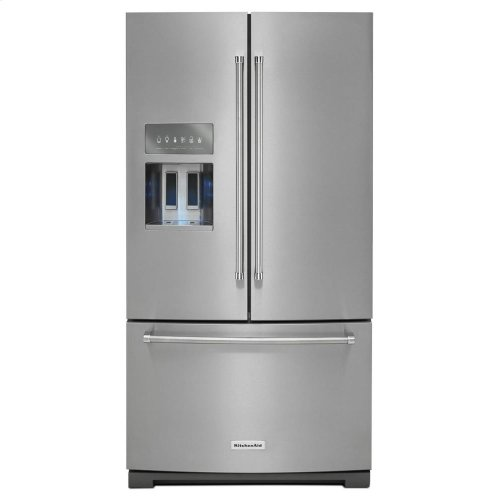 KitchenAid® 26.8 cu.ft. 36-Inch Width Standard Depth French Door Refrigerator with Exterior Ice and Water - Black