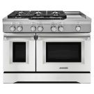 48'' 6-Burner with Griddle, Dual Fuel Freestanding Range, Commercial-Style - Imperial White Product Image