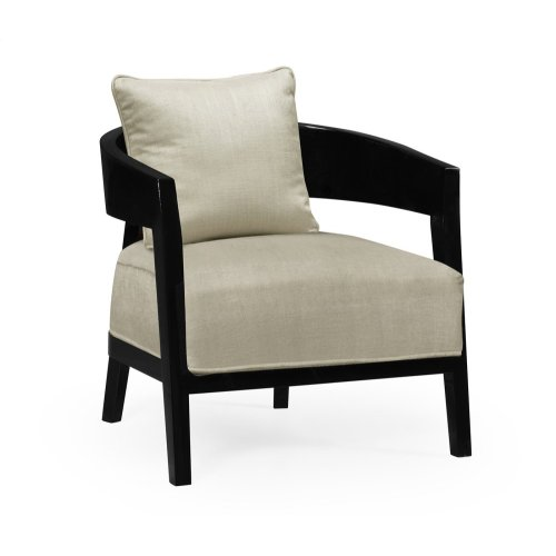 Smoky Black Tub Chair with Back Pillow, Upholstered in MAZO