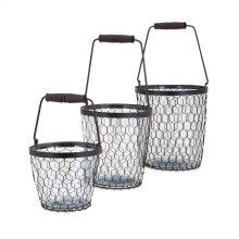 TY Honeybee Glass Buckets - Set of 3