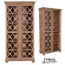 Bengal Manor Acacia Wood Fretwork 2 Door Tall Cabinet