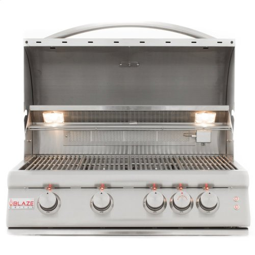 Blaze 32 Inch 4-Burner LTE Gas Grill With Rear Burner and Built-in Lighting System, With Fuel Type - Natural Gas