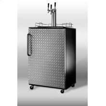 Full-sized Commercial Beer Dispenser for Freestanding Use, With Black Cabinet, Diamond Plate Door and Triple Tap Kit