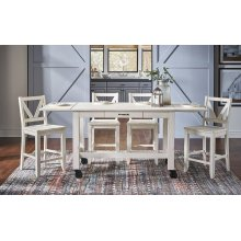 "Aberdeen Almond Milk Large Gather Height Table (2-16"" Leaves)"