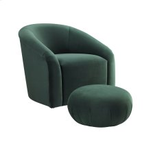 Boboli Forest Green Velvet Chair and Ottoman Set