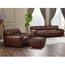 SU-AX6816-SCO  Leather 3 Piece Living Room Set  Sofa  Chair with Ottoman  Brown
