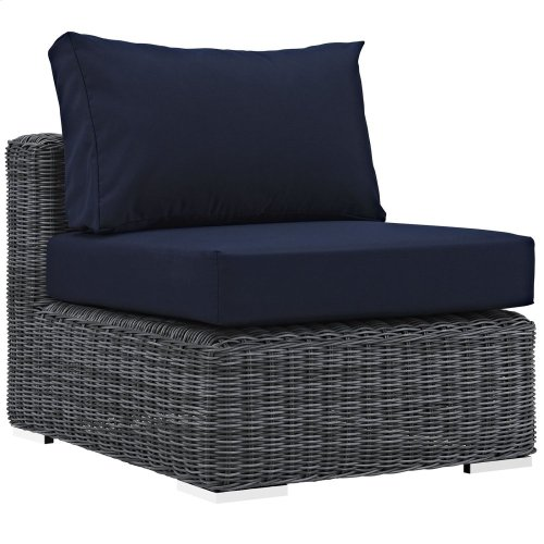 Summon 5 Piece Outdoor Patio Sunbrella® Sectional Set in Canvas Navy