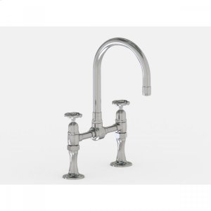 """Brushed Stainless - Deck Mount 7"""" Swivel Bar Faucet Spout with Metal Wheel Product Image"""