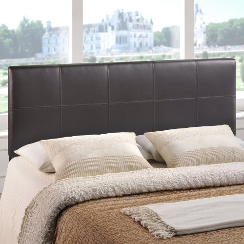 Oliver Queen Upholstered Vinyl Headboard in Brown