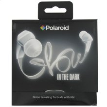 Polaroid Glow Headphones, Noise Isolating Earbuds with Mic - PHP735WH, White