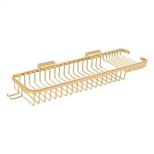 """Wire Basket 17-3/8"""", Rectangular Deep & Shallow, With Hook - PVD Polished Brass Product Image"""