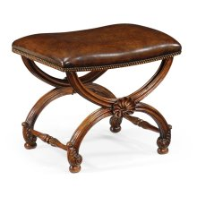 French Style Walnut Footstool with Shell Decoration