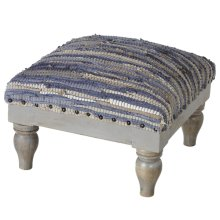 Blue & Beige Chindi Stool (Each One Will Vary)