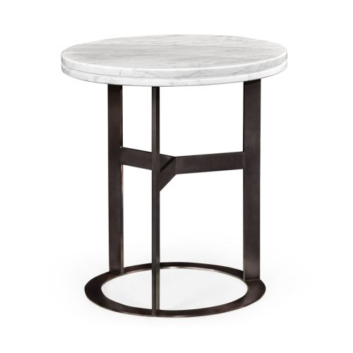 Round Stainless Steel & Faux Calacatta Oro Marble Side Table