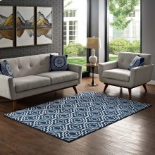 Frame Transitional Moroccan Trellis 8x10 Area Rug in Moroccan Blue and Ivory