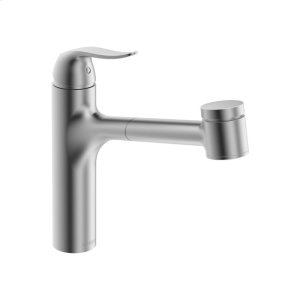 Style single-lever kitchen faucet with swivel spout; pull-out spray, stainless steel finish Product Image