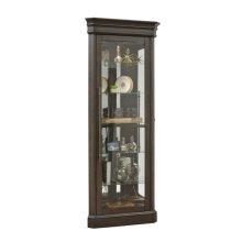 Lighted 5 Shelf Corner Curio Cabinet in Dark Oak Brown