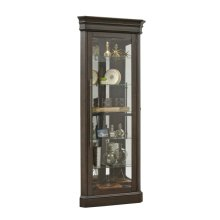 Lighted 5 Shelf Corner Curio Cabinet in Dark Oak Brown