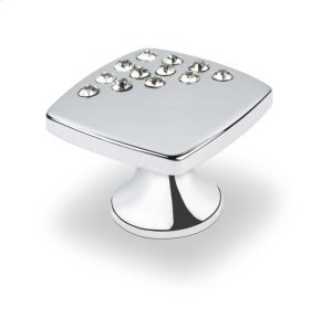 Small Sqaure Knob With Corner Crystals, Bright Chrome Product Image
