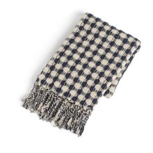 Recycled Cream & Navy Check with Braided Fringe Woven Throw