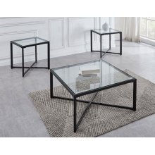 Crosby End Table Tempered Clear Glass Top 23'' Square 8mm