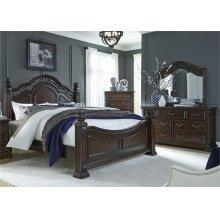 King Poster Bed, Dresser & Mirror, Chest
