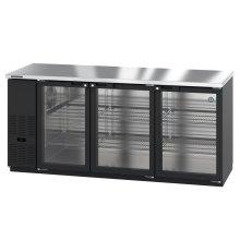 HBB-3G-LD-80, Refrigerator, Three Section, Black Vinyl Back Bar Back Bar, Glass Doors