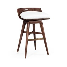 Natural Walnut Bar Stool, Upholstered in COM