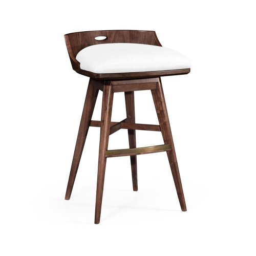 Natural Walnut Bar Stool, Upholstered in COM