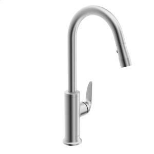 Style Single-lever kitchen faucet with swivel spout and pull-down spray, stainless steel finish Product Image