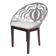 Ambrosia KD Rattan Chair Dark Brown Legs, Washed Gray