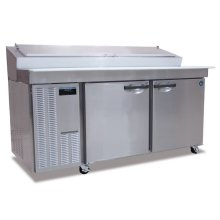 Refrigerator, Two Section Raised Rail Prep Table