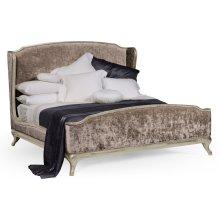Cali King Louis XV Country Sage Bed, Upholstered in Truffle Velvet