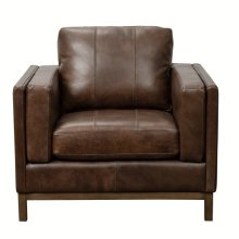 Drake Leather Accent Chair with Wooden Base in Brown