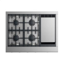 "36"" Professional Rangetop: 4 burners with griddle"