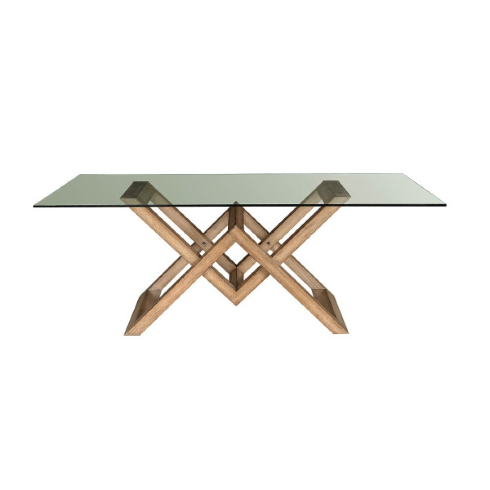 Aether Modern Wood and Glass Dining Table - Base Only
