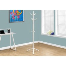 "COAT RACK - 69""H / WHITE WOOD CONTEMPORARY STYLE"