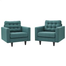 Empress Armchair Upholstered Fabric Set of 2 in Teal