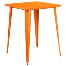 "Commercial Grade 31.5"" Square Orange Metal Indoor-Outdoor Bar Height Table"